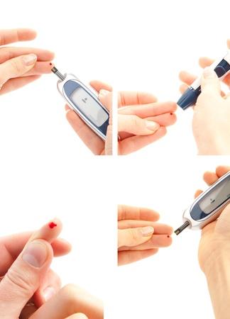 Diabetes begrip collage van insuline glucose suiker meten niveau bloedtest op een witte achtergrond Stockfoto