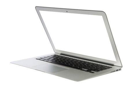 Modern popular business laptop notebook computer, light weight with clipping path and white screen isolated on a white background  photo