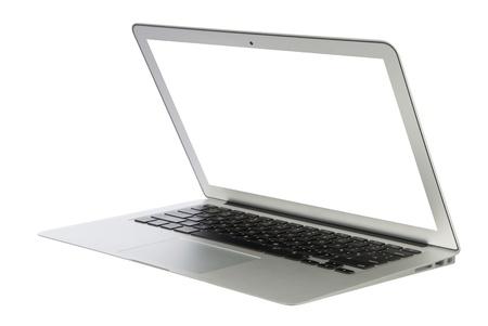 Moderne populaire zakelijke laptop notebook computer, licht van gewicht met het knippen van weg-wit scherm geïsoleerd op een witte achtergrond