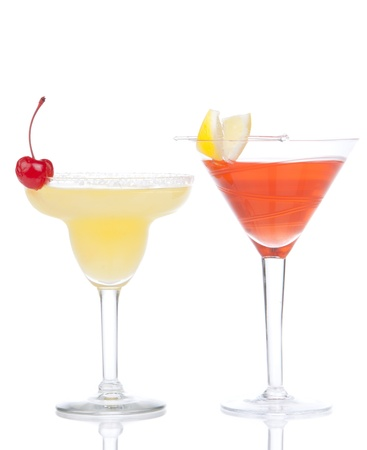 Margarita, martini cocktail, tequila sunrise, iced tea, tequila sunrise in cocktail glasses with mint, cherries, lemon spiral, lime, soda isolated on a white background  photo