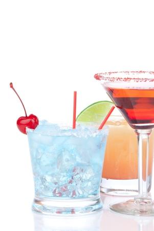 Margarita, martini cocktail, tequila sunriseisolated on a white background Stock Photo - 11153235