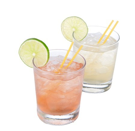 Cocktails alcohol drinks spirits margarita, martini on white background photo