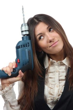 taladro: Constructor Mujer de negocios con la máquina del taladro listo para el proyecto de las obras de construcción aislado en un fondo blanco