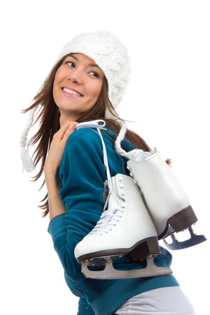 skating: Pretty woman ice skating winter sport activity in white cap smiling facial close-up isolated on a white background