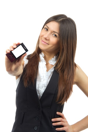 Young Business Woman Showing display of her new touch mobile cell phone on a white background photo