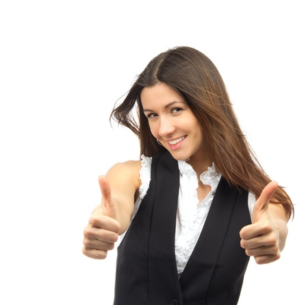Pretty business woman show thumb up and smiling on a white background Stock Photo - 12118104
