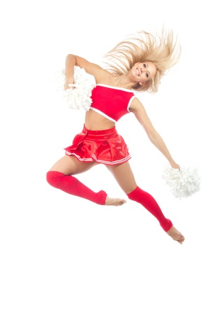 Cheerleader dancer woman from cheerleading team jumping dancing in mid air against white background Stock Photo - 12118121