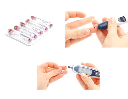 insulin syringe: Diabetes diabetic concept collage with insulin syringe shot and glucose sugar measuring level blood test on white background