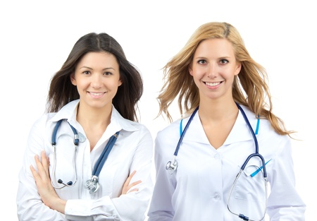 Two young doctor or nurse internship isolated on a white background Stock Photo - 12769855