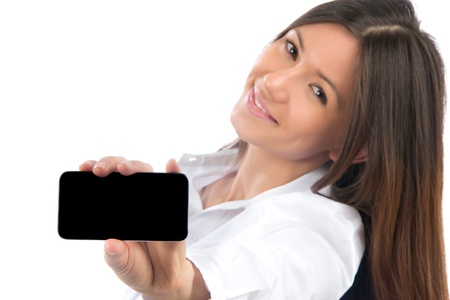 phone button: Young Pretty Woman Showing display of her new touch mobile cell phone and smiling. Focus on the hand and phone  Stock Photo