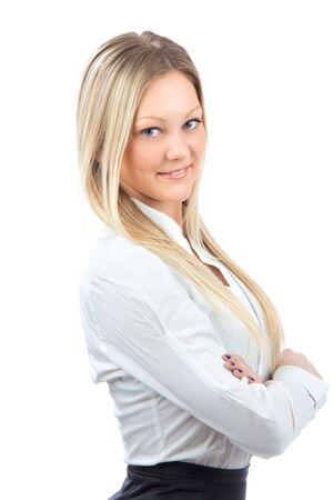 若いビジネス女性カジュアルな布の白い背景で隔離の笑みを浮かべて 写真素材 - 12769922
