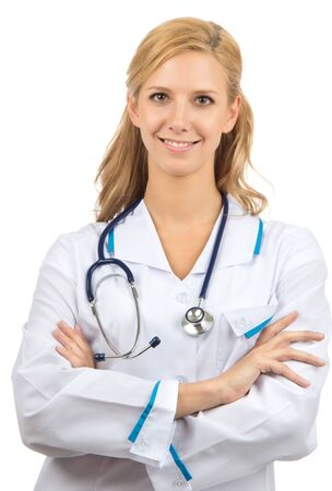 Young woman doctor with stethoscope standing with arms crossed isolated on a white background Stock Photo - 12770115