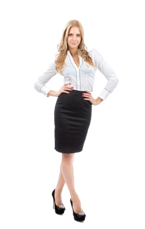business cloth: Young full body business woman smiling in casual cloth in black dress isolated on a white background