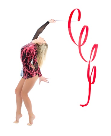 gimnasia ritmica: Delgado mujer flexible, la gimnasia r�tmica de arte aislado en un fondo blanco