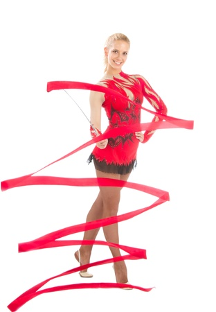 Slim flexible woman rhythmic gymnastics art dancer isolated on a white background