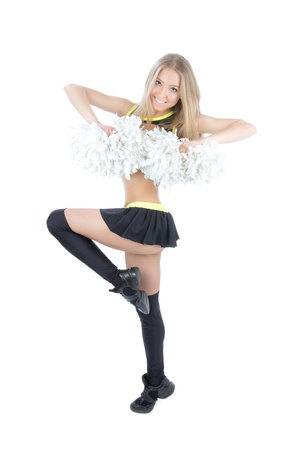 Beautiful cheerleader dancer girl from cheerleading team smiling isolated on a white background  photo
