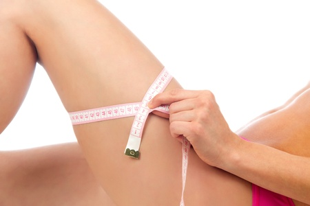 Hip, legs, abdomen and tape measure in hand cellulite liposuction woman weight loss control concept isolated against white background  photo
