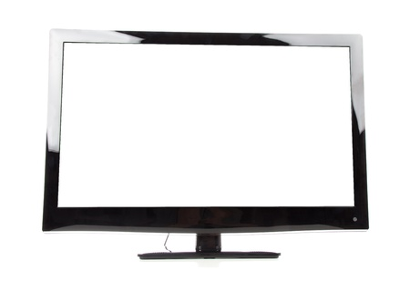 lcd tv: Plasma LED LCD tv with white copy-space screen isolated on a white background