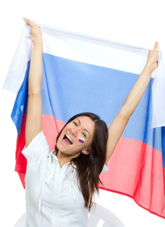 Happy russian soccer fan with russian national flag shouting or yelling cheer for the team on euro 2012 on a white background photo