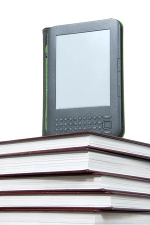 Reading digital ebook Device Display tablet Technology over stack of books Stock Photo - 14310967