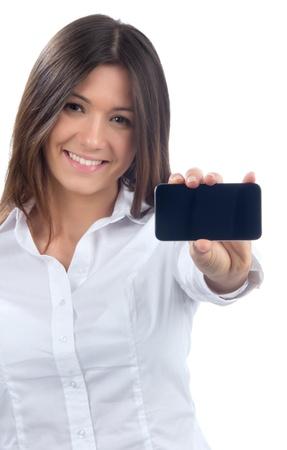 Jonge Mooie Vrouw Toont weergave van haar nieuwe touch mobiele telefoon op een witte achtergrond. Focus op de hand en telefoon Stockfoto