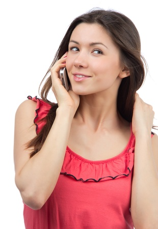 Cheerful woman talking on the phone, smiling and looking up in office work place on a white background Stock Photo - 15262492