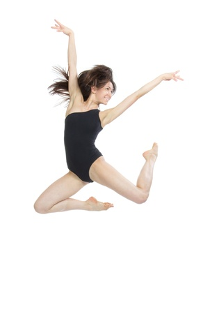 contemporary dance: slim jazz modern contemporary style woman ballet dancer jumping isolated on a white studio background
