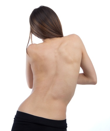back ache: Doctor patient spine scoliosis backache isolated on a white background