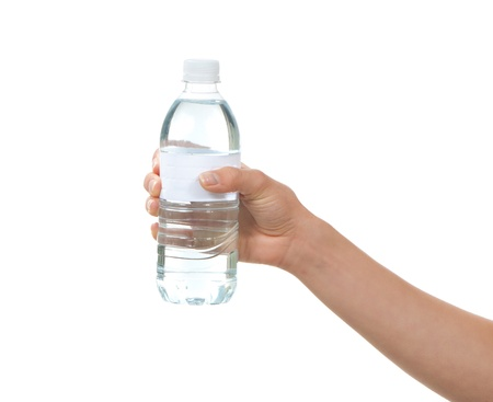 water beautiful: Hand hold bottle of drinking water on a white background Stock Photo