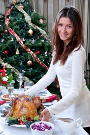 light meal: Woman holding Roasted turkey