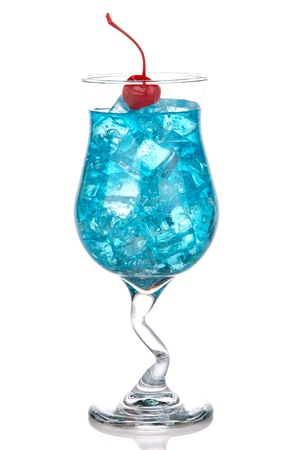 gin: Blue Hawaiian Lagoon Cocktail Stock Photo