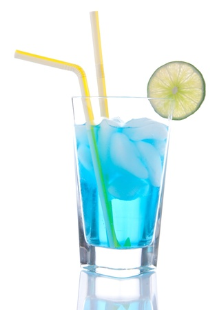 blue hawaiian drink: Popular Blue Hawaiian cocktail Stock Photo