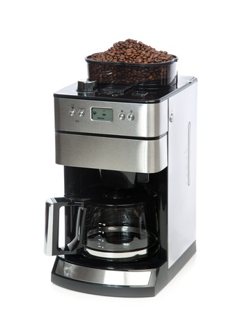 Espresso and americano coffee machine maker with coffee grinder on top  isolated on a white background photo