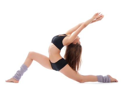 jazz modern: Beautiful slim fitness woman stretching exercise on a white background Stock Photo