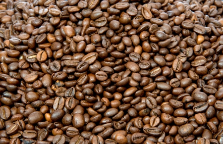 large bean: Roated coffee beans background Stock Photo