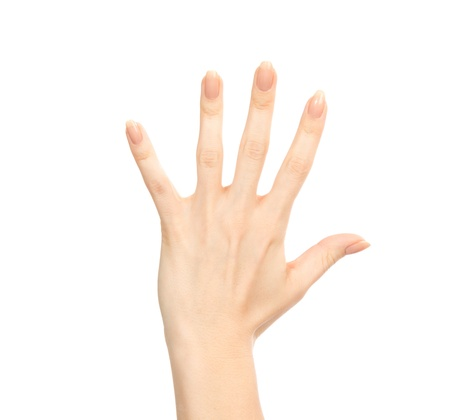 Manicured female hand gesture number five fingers up isolated on a white background Stock Photo - 16583791