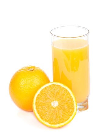 Glass of orange juice and slices of orange isolated on a white background photo