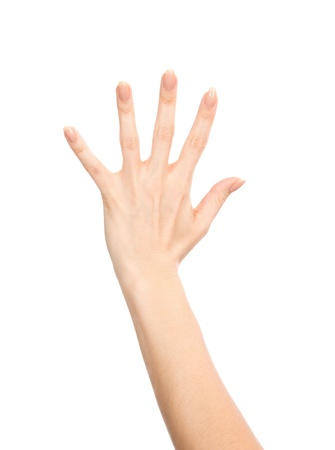 Manicured female hand gesture number five fingers up isolated on a white background Stock Photo - 18117046