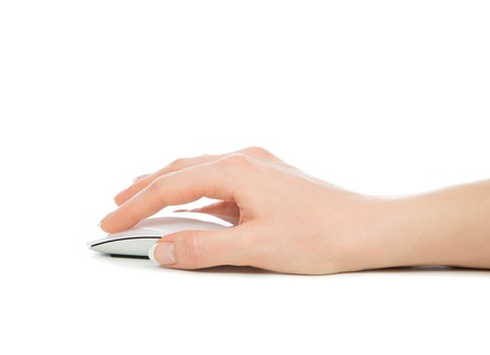 computer part: Hand click on modern computer mouse isolated on a white background