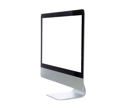 side keys: New monitor computer display side view isolated on a white background