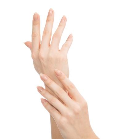 Mooie vrouw handen met french manicure nagels geïsoleerd op een witte achtergrond Stockfoto - 21262118