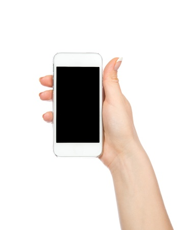 Mobile cell phone in hand with blank black screen for copy space isolated on a white background photo