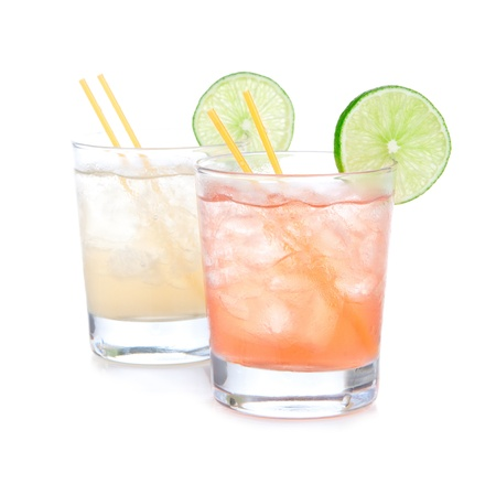margarita drink: Summer beach margarita cocktails drink in spirit glasses isolated on a white background