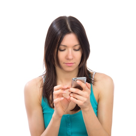 phone: Young woman online banking using her modern mobile cellphone finger touch the screen on a white background Stock Photo