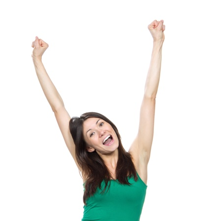 Happy woman with raised arms or hands up sign screaming yelling isolated on a white background photo