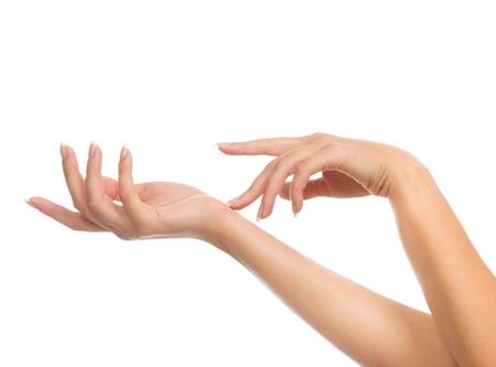 흰색 배경에 고립 된 프랑스 매니큐어 손톱 아름다운 여자 손 스톡 콘텐츠
