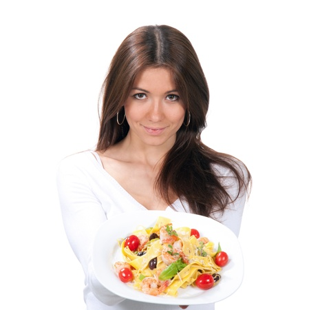 Woman wants to eat spaghetti pasta with shrimps Italian food on a white background Stock Photo - 22087396