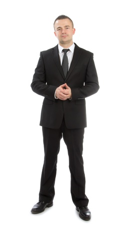 Full body business man on a white background