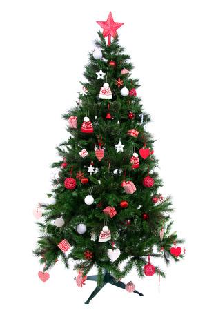 Kerstboom met Versierd ornament rode ster, lapwerk harten, hoed en kleine cadeautjes nieuwe jaar 2014 stijl op een witte achtergrond Stockfoto - 22663120