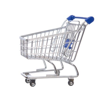 empty shopping cart: Empty shopping cart for sale isolated on a white background
